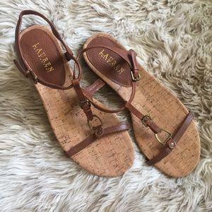 Lauren Ralph Lauren brown leather and cork sandals